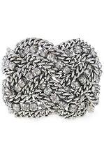 Authentic Petra Braided Statement Bracelet Silver Cubic Zirconia Glass Metal