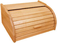 NEW WOOD WOODEN ROLL TOP BREAD BIN STORAGE CONTAINER BOX SMALL REGULAR