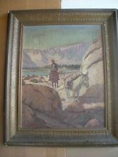 American Artist, N.L.DeNubila, Oil/Canvas -Western Scene- Rider and Pack Horse