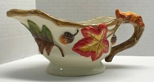 Vintage Gravy Boat Fall Leaves and Acorns  Autumn Decor Thanksgiving Harvest