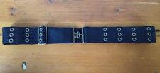 Mens Studded Biker Punk Rocker Black Cotton Canvas Adjustable Cloth Belt 36