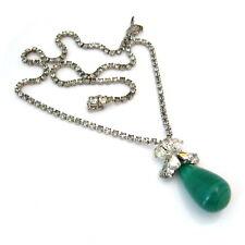 Vintage Emerald Green Art Glass Teardrop Rhinestone Necklace, 1960s Drop Choker