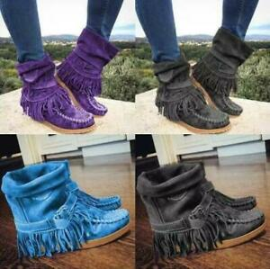 Womens Buckle Tassels Flat Heels Ankle Boots Ladies Suede Casual Shoes Plus Size