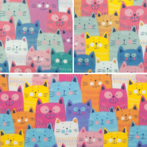 COOL CAT FABRIC Fun Smiling Colourful Cats - Children Kids Polycotton Material