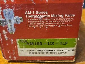 """Honeywell AM100-US-1LF Mixing Valve - Union 1/2"""" Sweat 70-145F SHIPS FREE"""