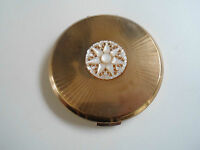 Collectable Vintage Stratton Powder Compact Mother of Pearl Design to Lid