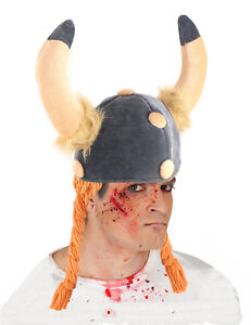 Mens Viking Helmet Fancy Dress Hat with Horns & Hair Plaits Soft Silly Hats NEW