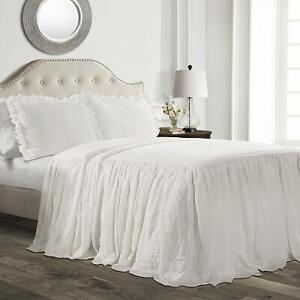 WHITE Twin Full Queen King Size Solid Ruffled Farmhouse Bedspread Set with Shams
