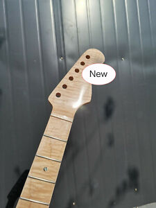 New Flame Maple Guitar Neck 21fret 25.5inch Clear Coat Pearl Dot Inlay Bolt On