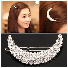 Sweet Women Korea Jewellery Crystal Moon Hair Clip Rhinestone Headwear Hairpin
