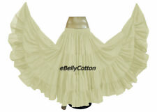 Cream Cotton Gypsy Skirt 25 Yard 4 Tiered Tribal Belly Dance Flamenco Jupe New