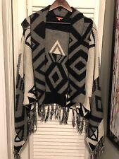 I love H81 Open Cardigan Sweater S Black Gray White Fringe Geometric Ugly Party