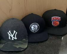 (3) New York Snapback & Fitted Hat Cap Yankees Knicks Brooklyn Nets LOT