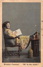 WEATHER FORECAST~90° IN THE SHADE~WOMAN RELAXES~CECKSTONE GREETING POSTCARD 1907