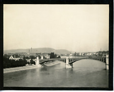 Suisse, pont de Bâle Vintage silver print,  Tirage argentique  9x12  Circa