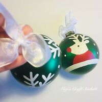 2pcs Reindeer Glass Christmas Tree Ornament Decoration