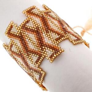 "2"" SPARKLING TRENDY GOLD BROWN CREAM PATTERNED DRAWSTRING HANDMADE bracelet"