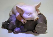 Enesco Sleeping Pigs Piglets Porcelain Figurine 1988
