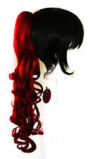 23'' Curly Pony Tail Clip Crimson Red Cosplay Wig Clip Only NEW