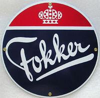 Fokker Crown Aero Airplane Vintage Aviation Porcelain Metal Sign