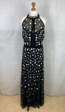 Flower Sequin Black Netted Full Length Evening Dress Size 18 BNWOT