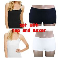 Women Plain Vest Top Tank Strappy Camisole Casual Soft Boxer UK 8-14 2039 Set