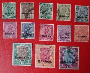 Bahrain 1933 KGV Overprint set fine used & mint. SG 1-14w. Sc 1-14., 3a missing