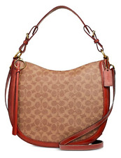 🌺🌹Coach Coated Canvas Signature Sutton Hobo Tan/Rust-Gold 38580