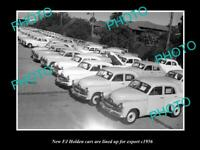 OLD POSTCARD SIZE PHOTO OF THE FJ HOLDEN CARS LINED UP READY FOR EXPORT c1954