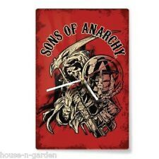 SONS OF ANARCHY SOA RED GLASS WALL CLOCK Mancave Bar Pool Room Home Decor