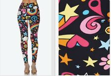 Soft Peach Skin Texture One Size Leggings fits size 2-16 Unicorns and Rainbows