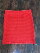 Asos Red Knitted Skirt Size 10 Lipstick Knit Pencil Tube Pelmet Lacy Hem NEW