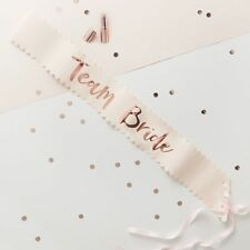 Team Bride to Be Hen Night out Party Badges Sash Glasses Photo Booth Props 'team Bride' Rose Gold Foiled Paper Sashes