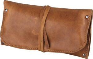 Pfeifen-Rollbeutel Leder braun antik 18cm / 1er Fächer für Feuerzeug, Tabak,