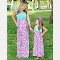 Personalized MOM  AND ME  Dresses Sleeveless Floral Long Dress Swimmer