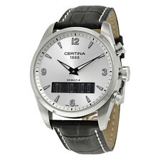 Certina DS Multi-8  Silver Dial Black Leather Mens Quartz Watch