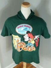 Vintage Mickey Mouse World Travel Regae Hoodie T Shirt Skate Surf BMX L Disney