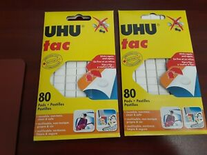 UHU Tac Removable and Reusable Glue Pads for Fast & Cleanmounting, Non-Toxic 2pk