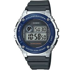 Casio W-216H-2AV Silver Blue Black Sports Digital Watch with Box Included