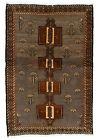 Vintage Tribal Oriental Gabbeh Rug, 5'x8', Grey/Beige, Hand-Knotted Wool Pile