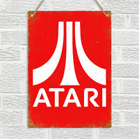 ATARI Replica Metal Wall Sign Plaque Vintage Retro Gaming 8bit Man Cave Bar Pub