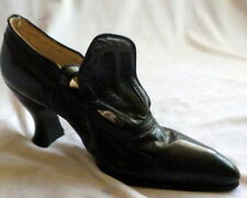 Vintage 1910s Black Leather Shoes Heels Size 5
