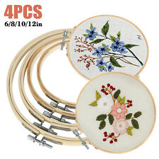 4Pcs Embroidery Hoops Frame Bamboo Circle Cross Stitch Hoop Ring Set Art Craft