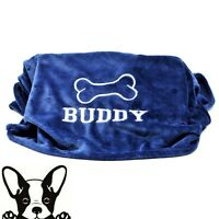 Dark Blue Hand Made Embroidered Personalised Dog Blanket 2 sizes