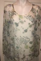 GIUSY Italy Women's White Silk Floral Overlay Long Sleeve Tonic Blouse