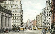 Four Corners State & Main Streets Rochester Postcard 1911 New York Trolley