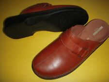 Clarks Patty Lorene Leather Slip-On Clogs Mules Shoes Women's 7.5 W Dark Tan