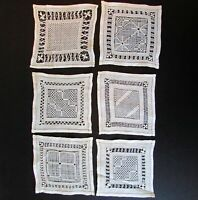 """Set of 6 Antique Handmade Lace Cocktail Napkins or Coasters 5"""" x 5"""""""