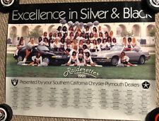 Vintage 1991 LA Raiders Raiderettes Cheerleaders Poster 17x21 Chrysler Plymouth