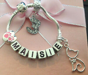 Personalised girls ANY NAME paws cat any age charm bracelet gift box